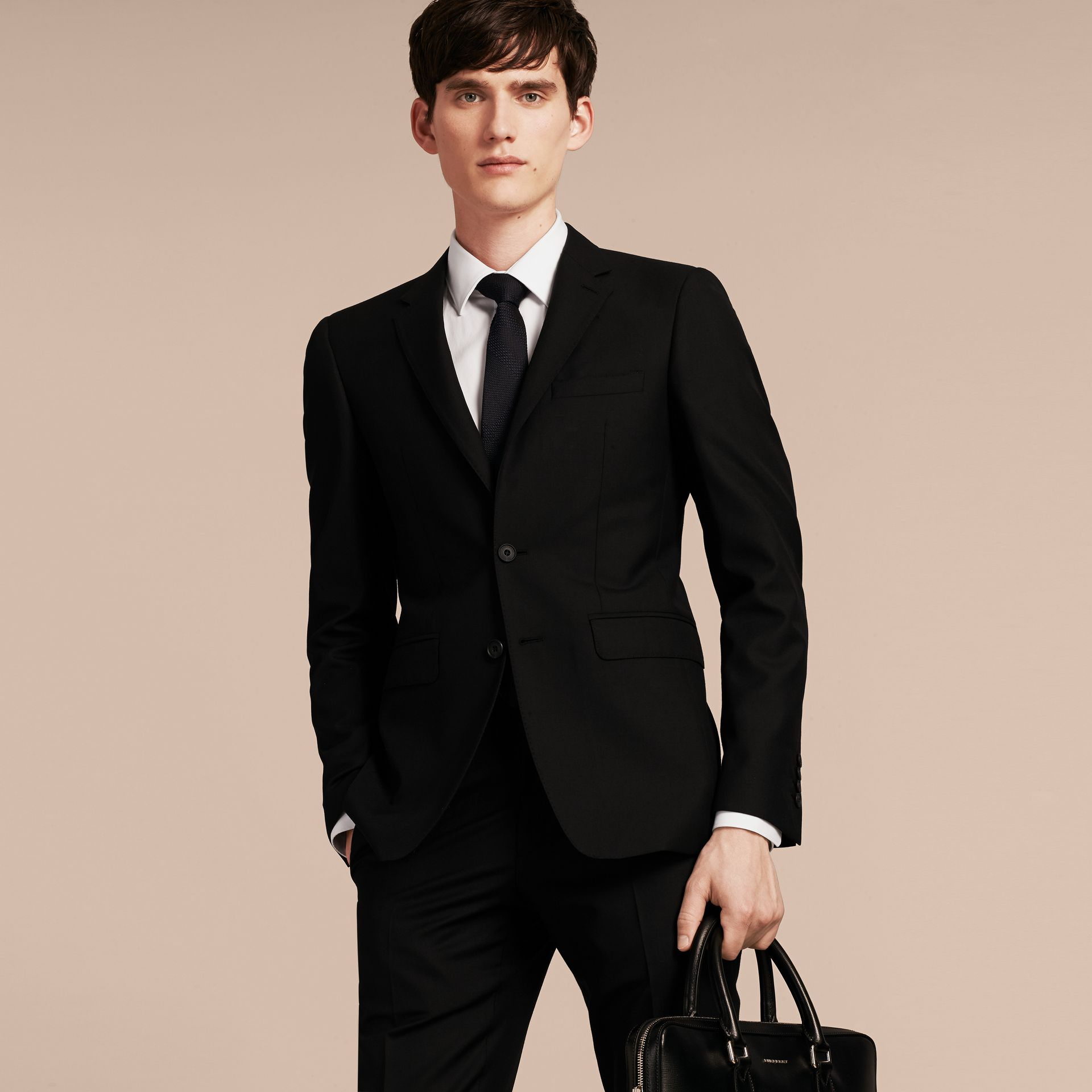 Slim Fit Wool Part-canvas Suit in Black - gallery image 8