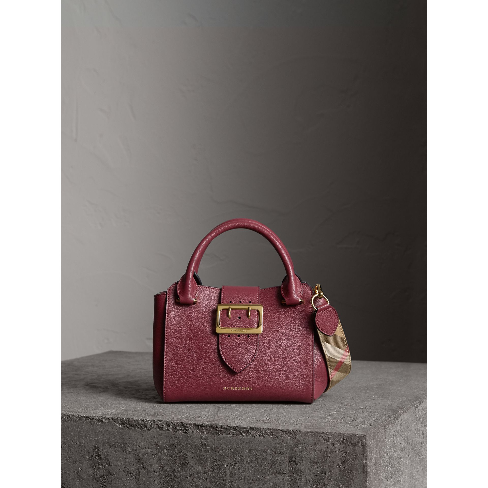 The Small Buckle Tote in Grainy Leather in Dark Plum - Women | Burberry Hong Kong - gallery image 1
