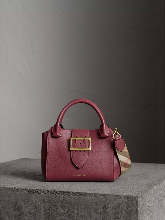 The Small Buckle Tote in Grainy Leather in Dark Plum