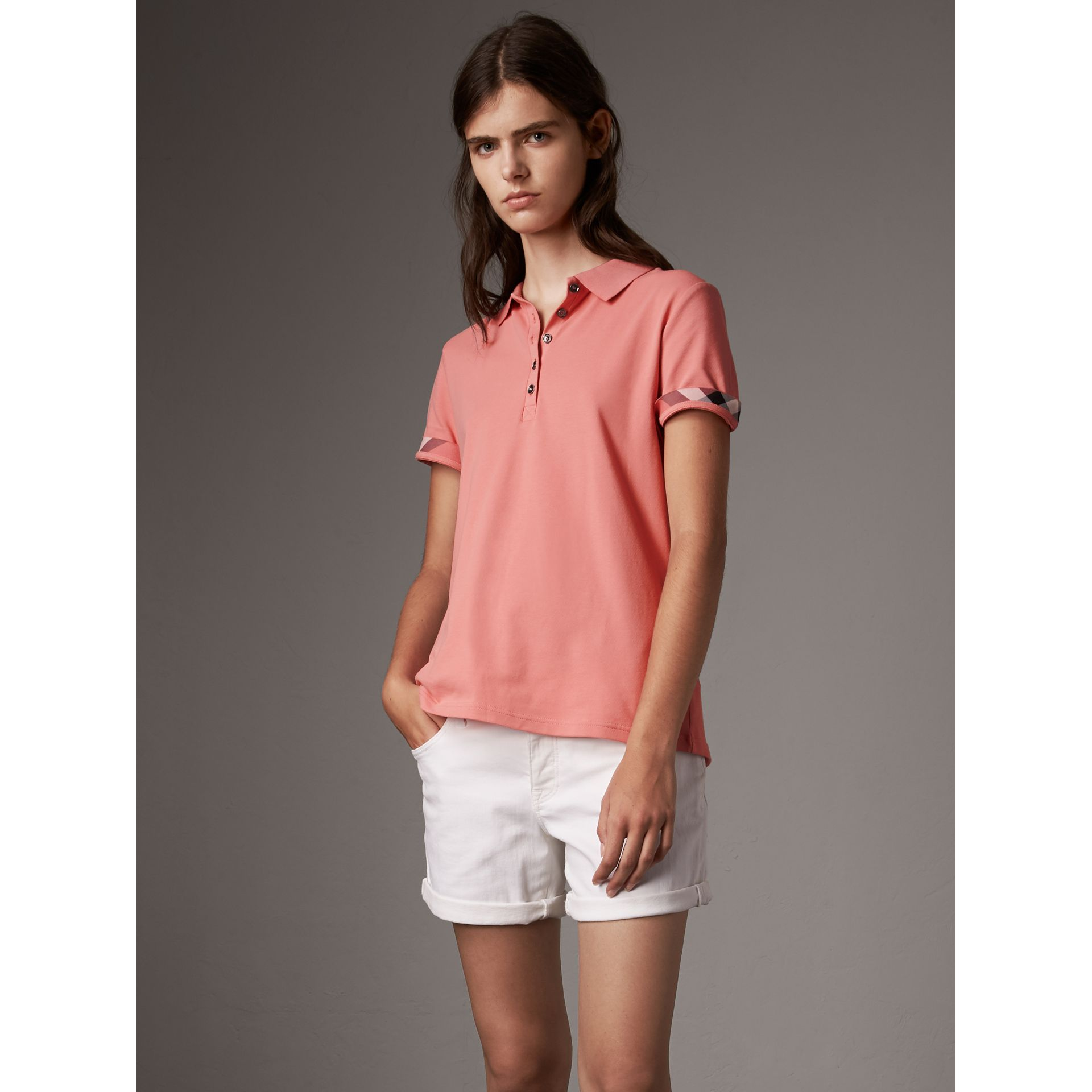 Check Trim Stretch Cotton Piqué Polo Shirt in Carnation Pink - Women | Burberry Australia - gallery image 1