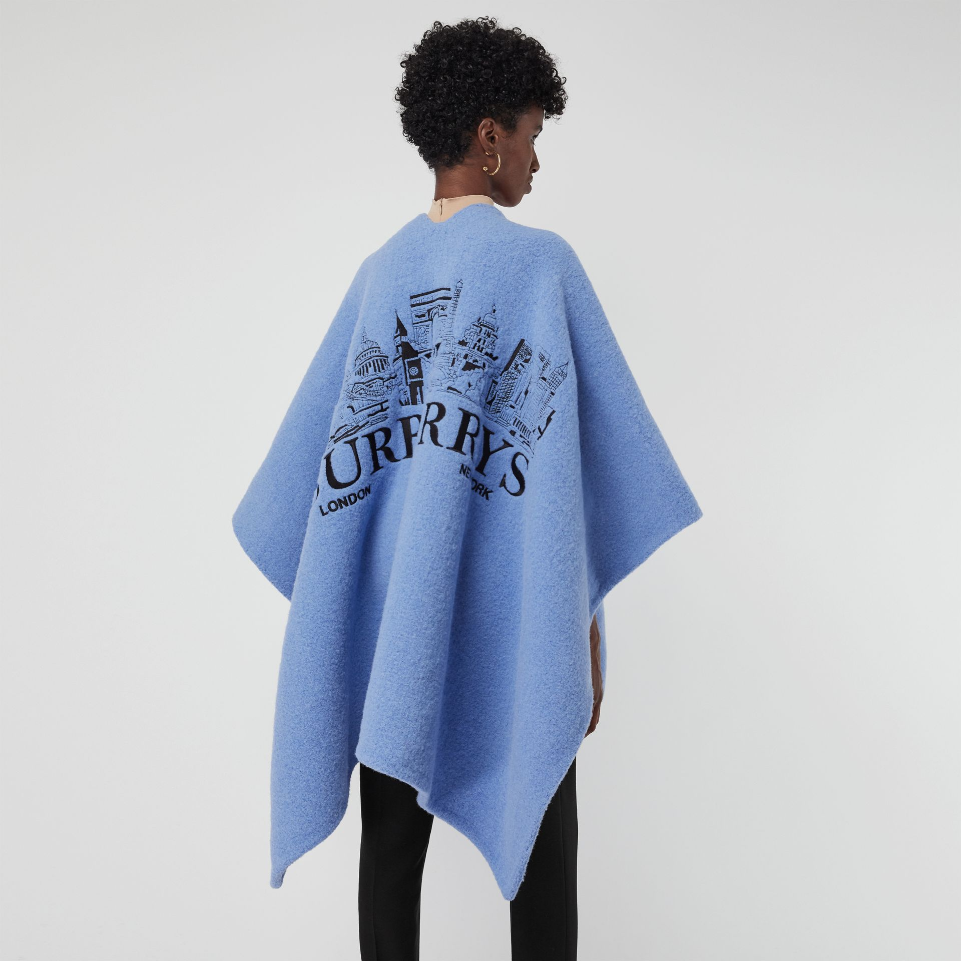 Embroidered Skyline Wool Alpaca Blend Poncho in Hydrangea Blue - Women | Burberry Australia - gallery image 2