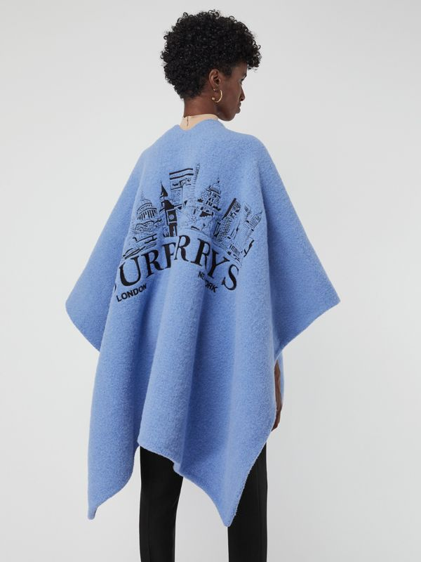 Embroidered Skyline Wool Alpaca Blend Poncho in Hydrangea Blue - Women | Burberry - cell image 2
