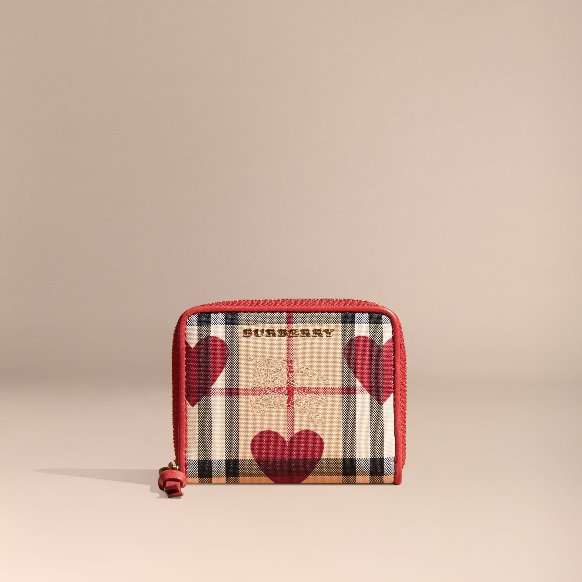 Parade red Heart Print Horseferry Check Small Ziparound Wallet - gallery image 6