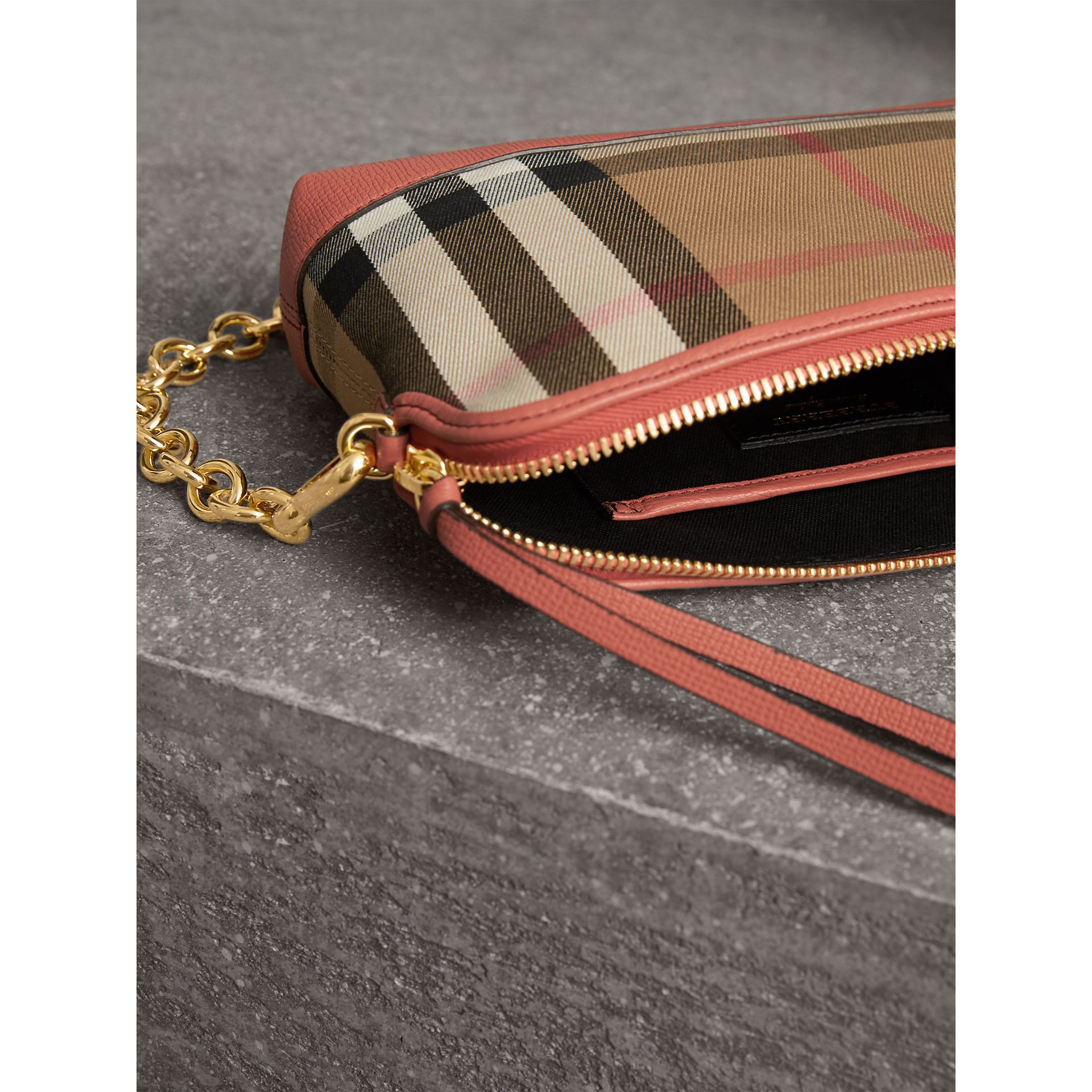 House Check and Leather Clutch Bag in Cinnamon Red - Women | Burberry Singapore - gallery image 6
