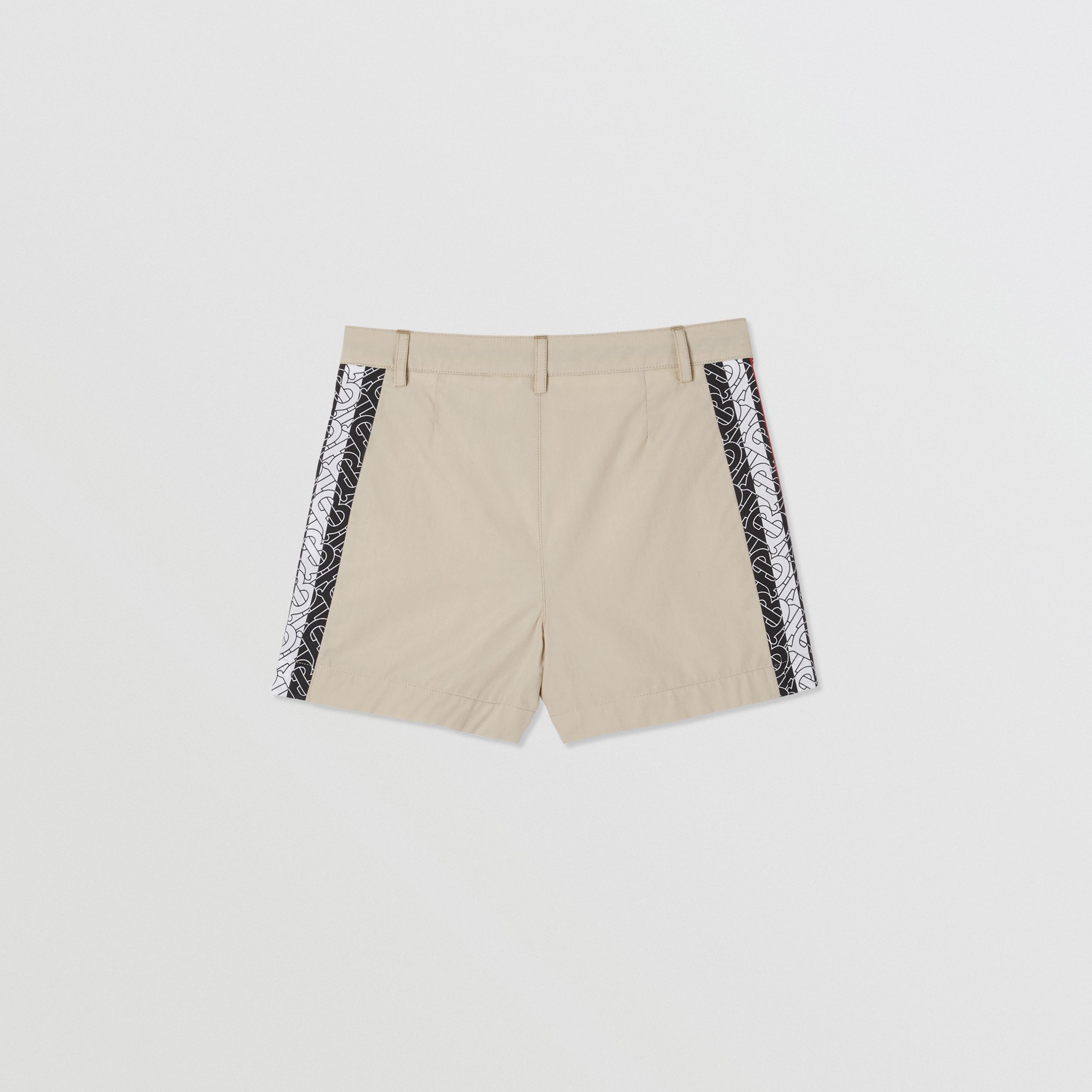 Monogram Stripe Print Cotton Tailored Shorts in Stone | Burberry - 4