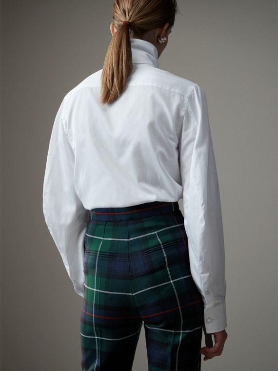 Herringbone Cotton Tie-neck Riding Shirt in White - Women | Burberry - cell image 2