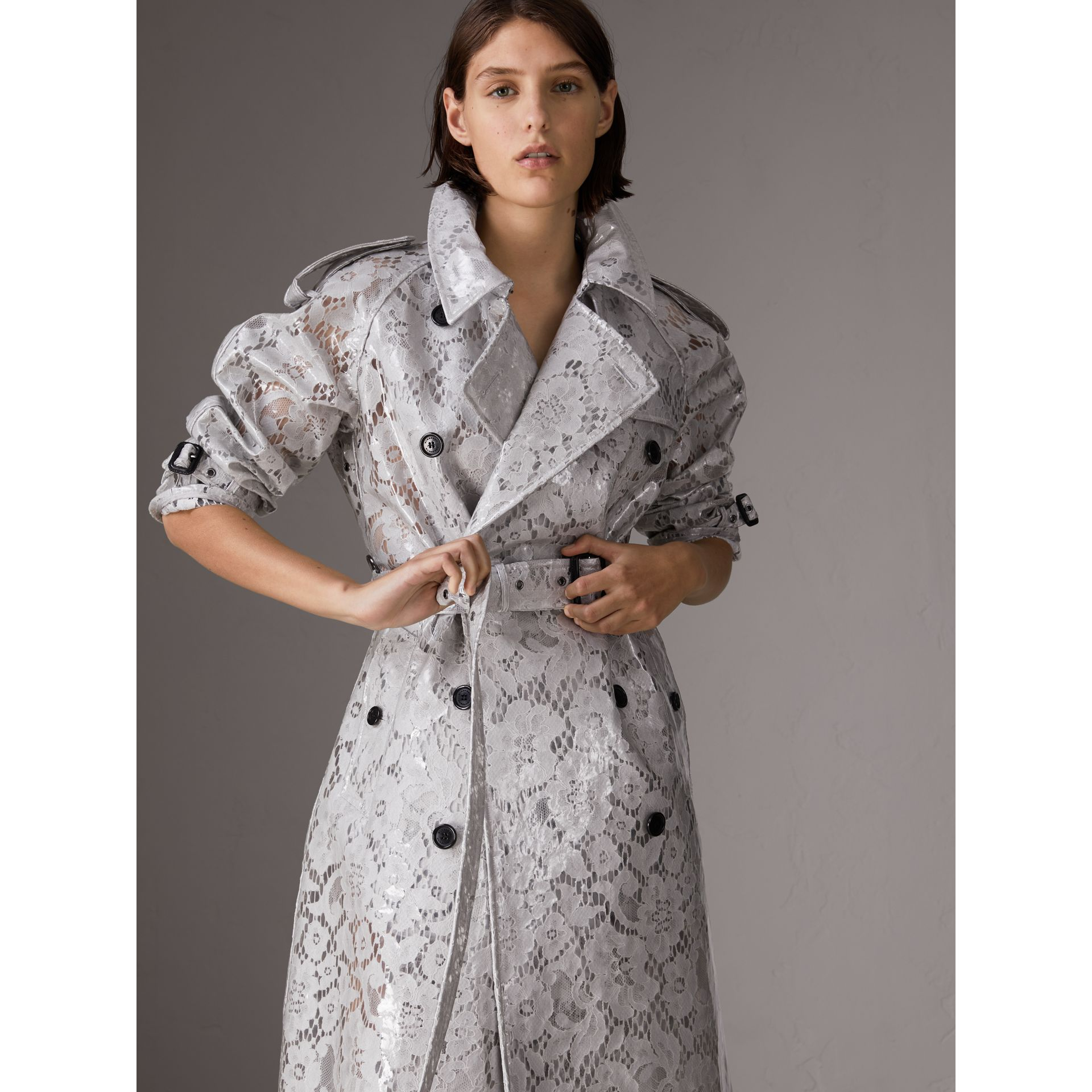 Laminated Lace Trench Coat in Pale Grey - Women | Burberry - gallery image 0