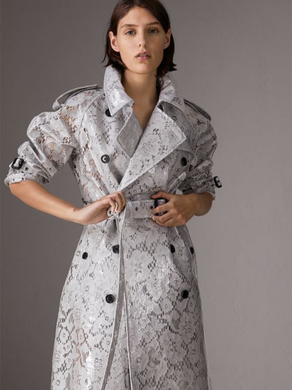 Laminated Lace Trench Coat in Pale Grey