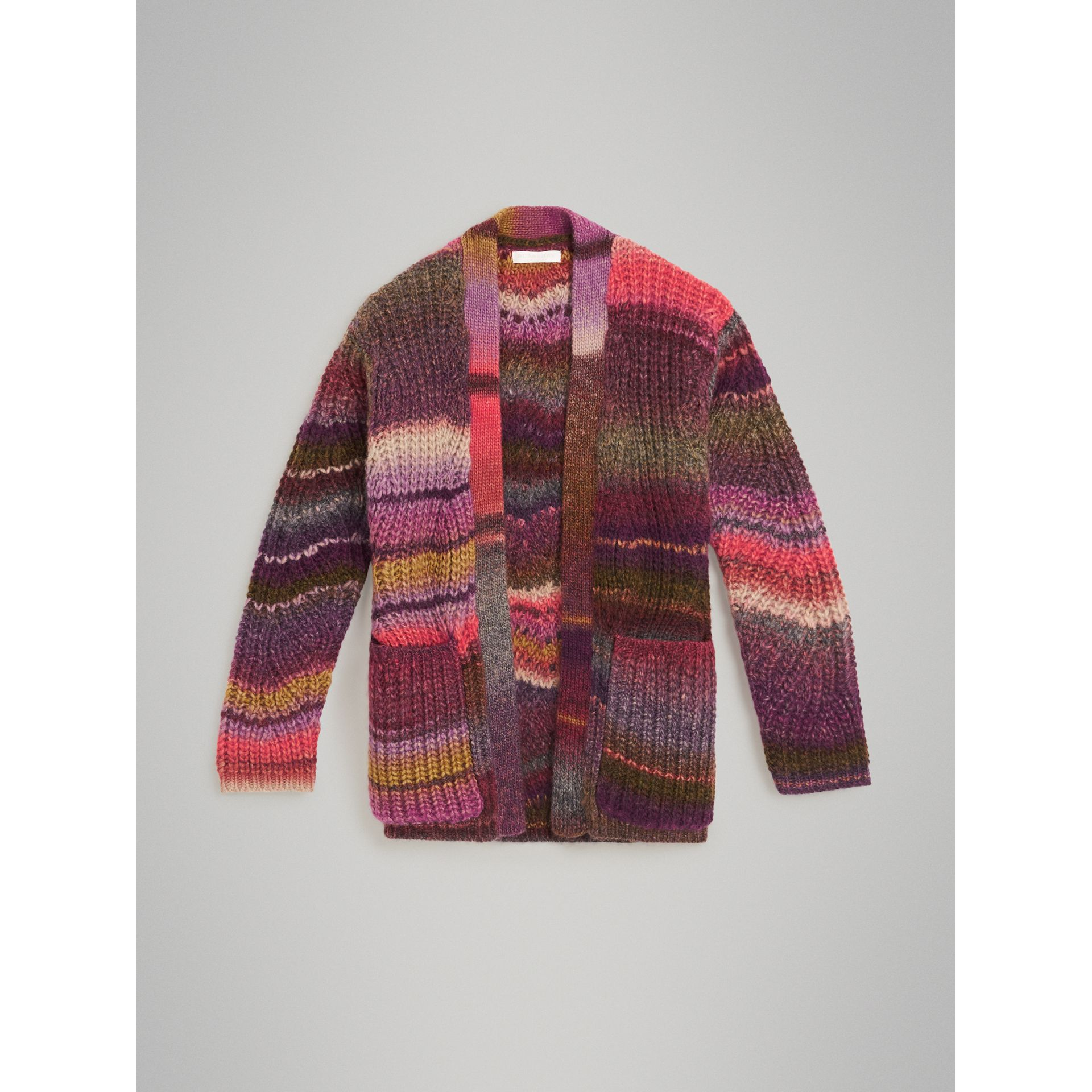 Rib Knit Wool Blend Cardigan in Multicolour | Burberry - gallery image 0