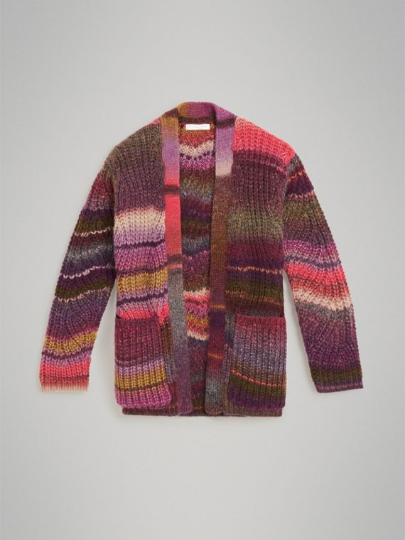 Rib Knit Wool Blend Cardigan in Multicolour