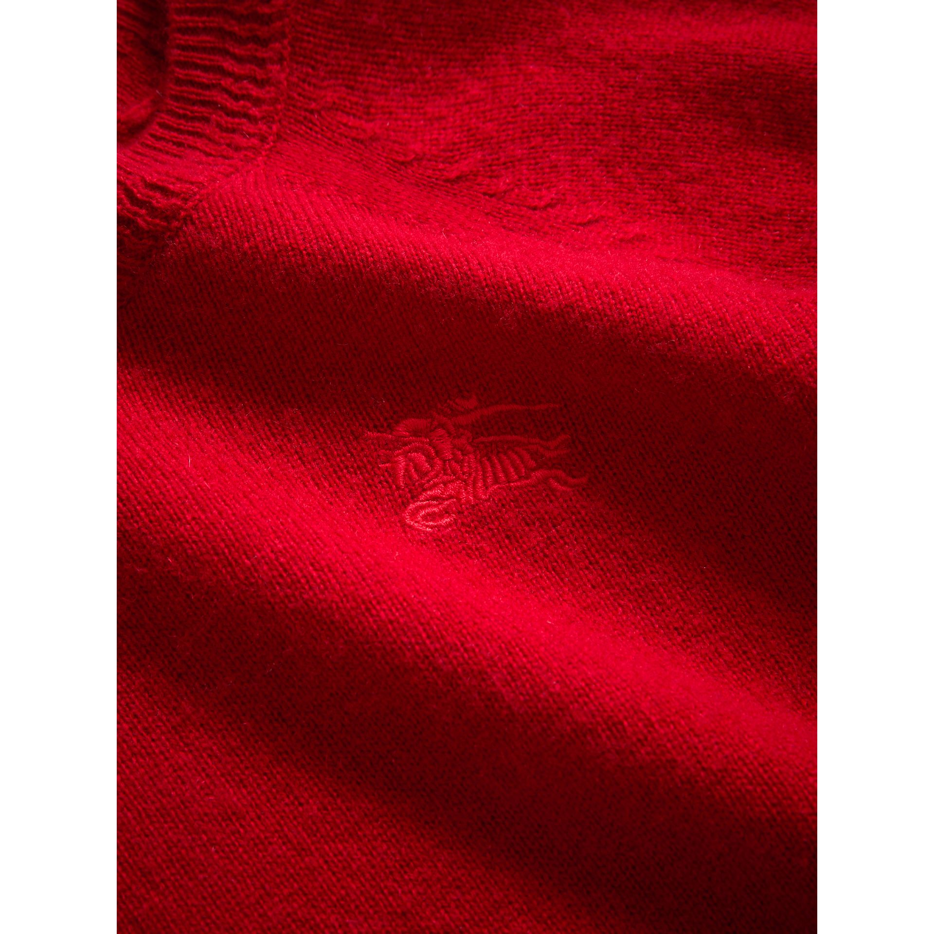 Check Detail Cashmere Sweater in Parade Red - Girl | Burberry United Kingdom - gallery image 1