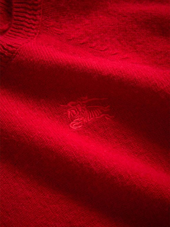 Check Detail Cashmere Sweater in Parade Red - Girl | Burberry United Kingdom - cell image 1