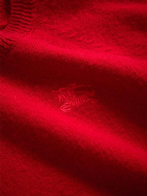 Suéter de cashmere com detalhe xadrez (Vermelho Paixão) - Menina | Burberry - cell image 1