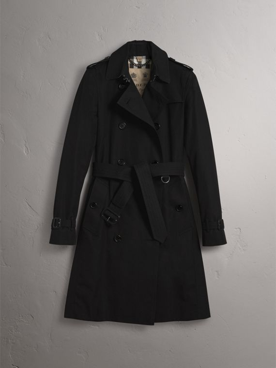 The Kensington – Long Heritage Trench Coat in Black - Women | Burberry - cell image 3
