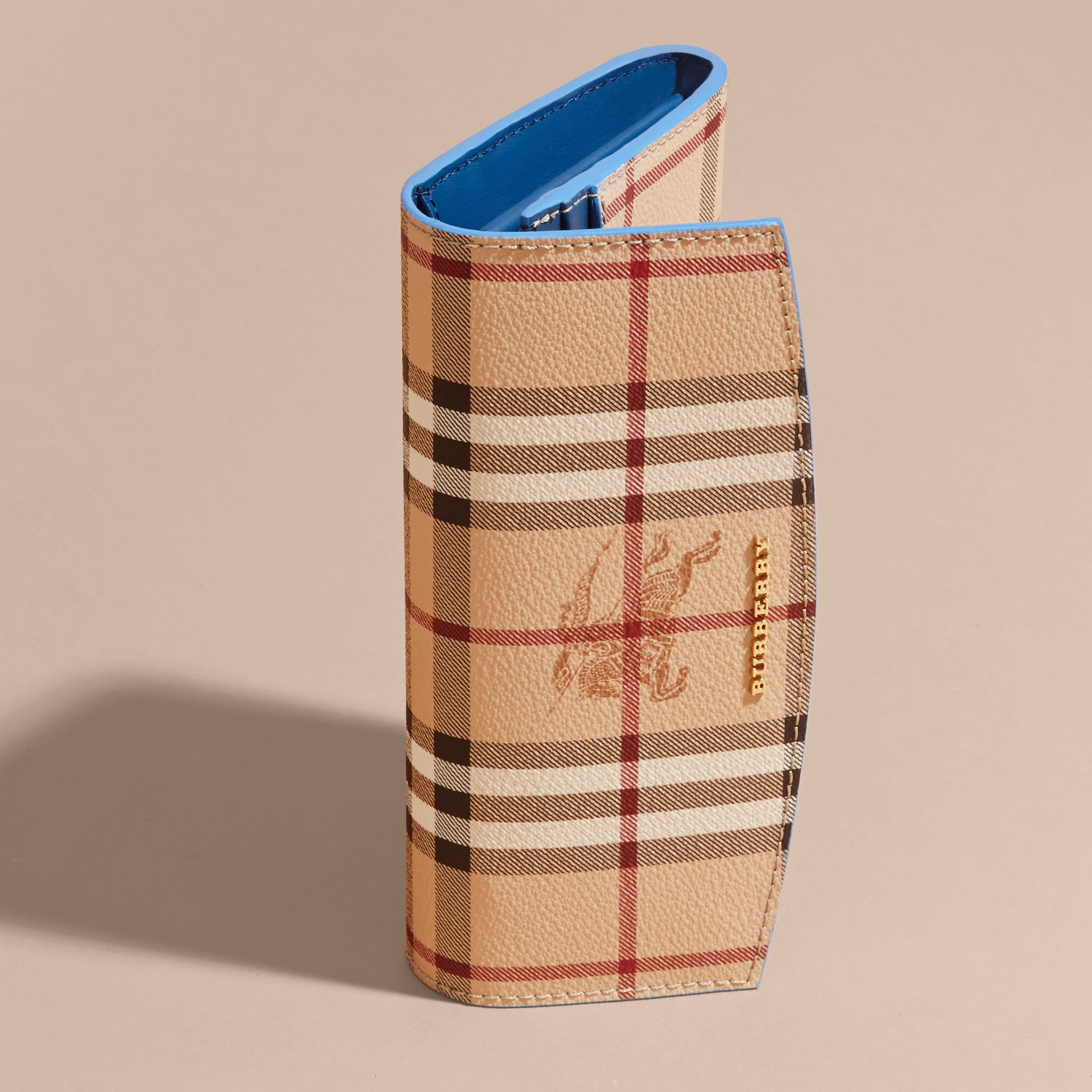 Haymarket Check and Leather Continental Wallet in Mineral Blue - Women | Burberry - gallery image 3