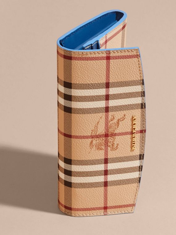 Haymarket Check and Leather Continental Wallet in Mineral Blue - Women | Burberry - cell image 2