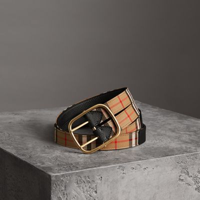 Vintage Check And Leather Double-Strap Belt in Black