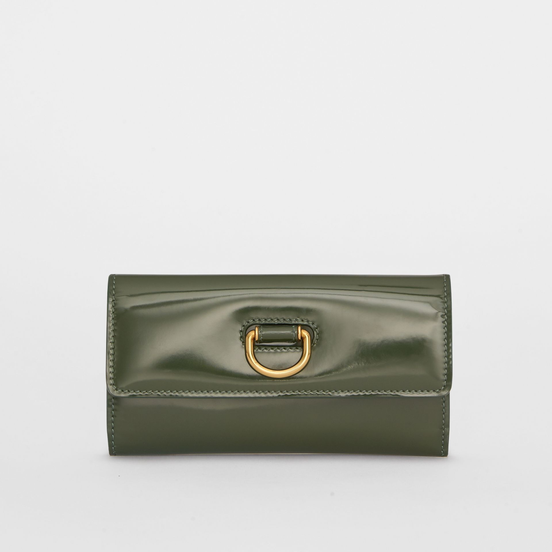 D-ring Patent Leather Continental Wallet in Dark Forest Green - Women | Burberry United States - gallery image 0