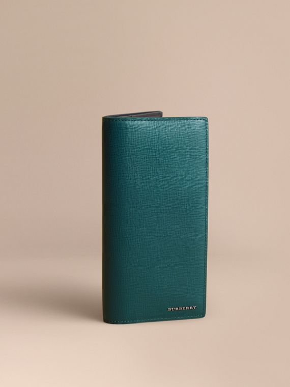 London Leather Continental Wallet in Dark Teal | Burberry Hong Kong
