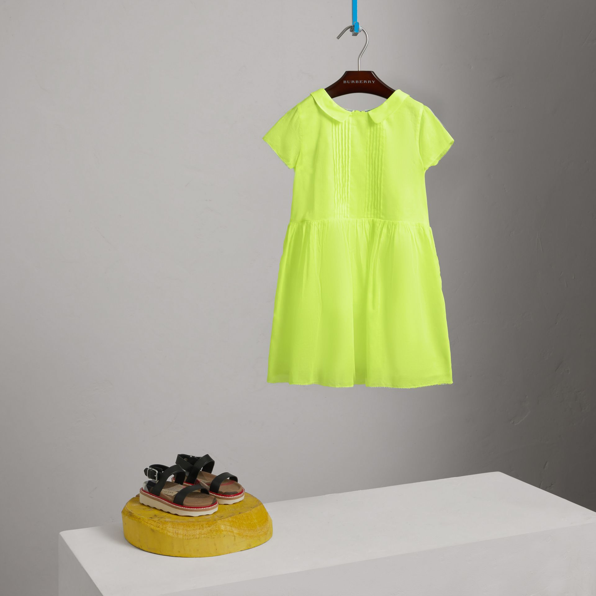 Pintuck Detail Cotton Voile Dress in Neon Yellow - Girl | Burberry - gallery image 2