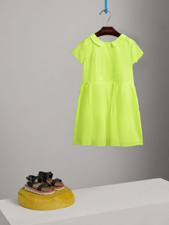 Pintuck Detail Cotton Voile Dress in Neon Yellow - Girl | Burberry Canada - cell image 2