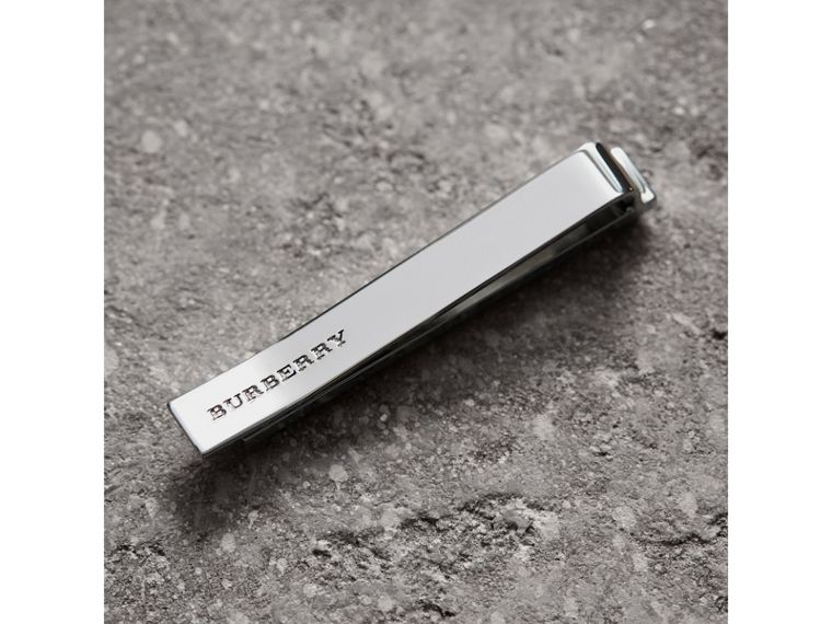 Check-engraved Tie Bar in Silver - Men | Burberry United States - cell image 1