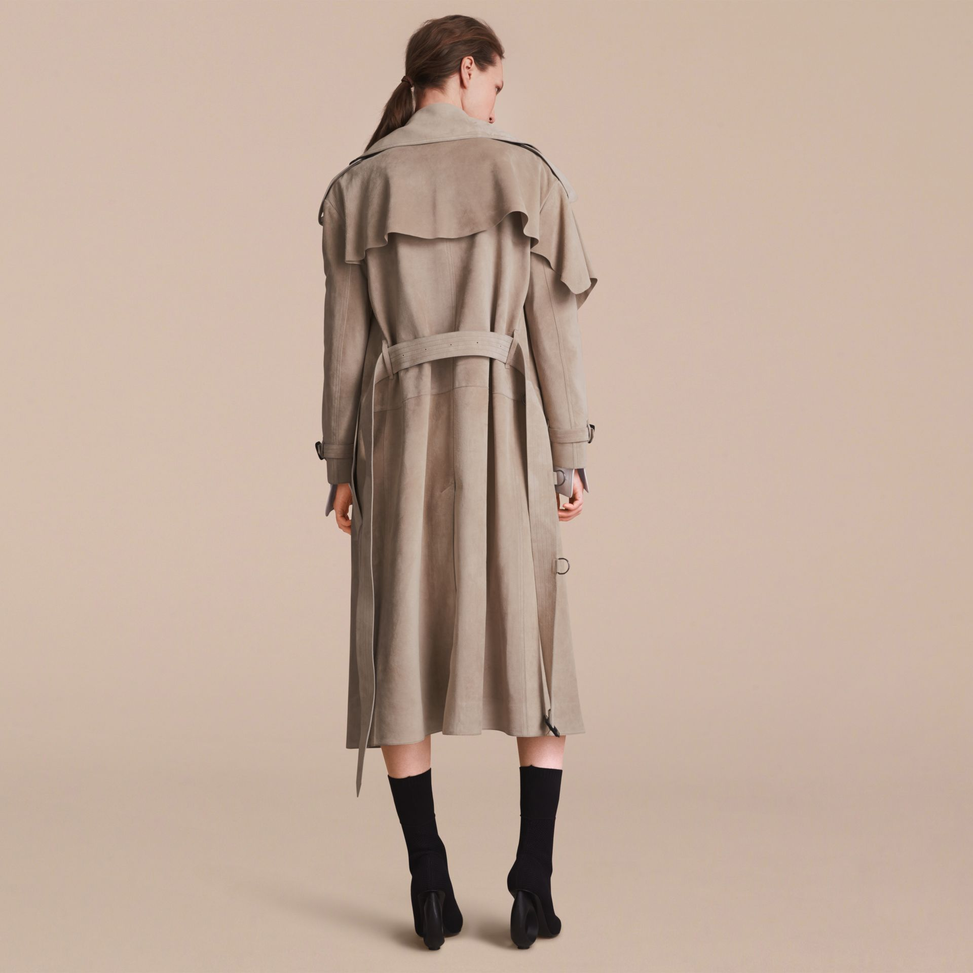 Suede Asymmetric Trench Coat - Women | Burberry - gallery image 3