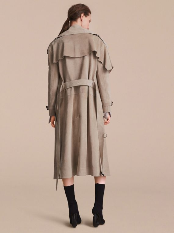 Suede Asymmetric Trench Coat - Women | Burberry - cell image 2