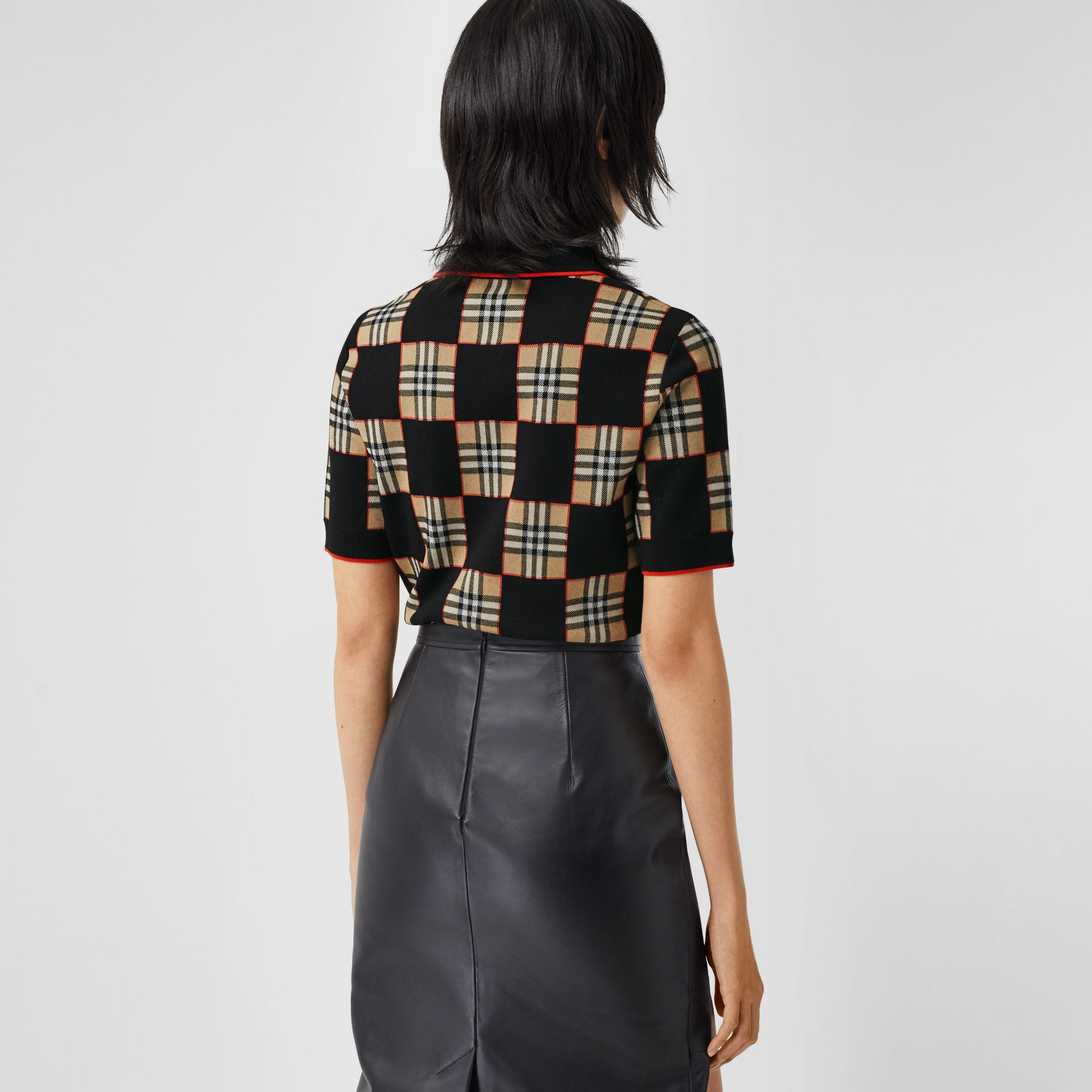 Chequer Merino Wool Blend Jacquard Polo Shirt in Black/archive Beige - Women | Burberry Hong Kong S.A.R - gallery image 2