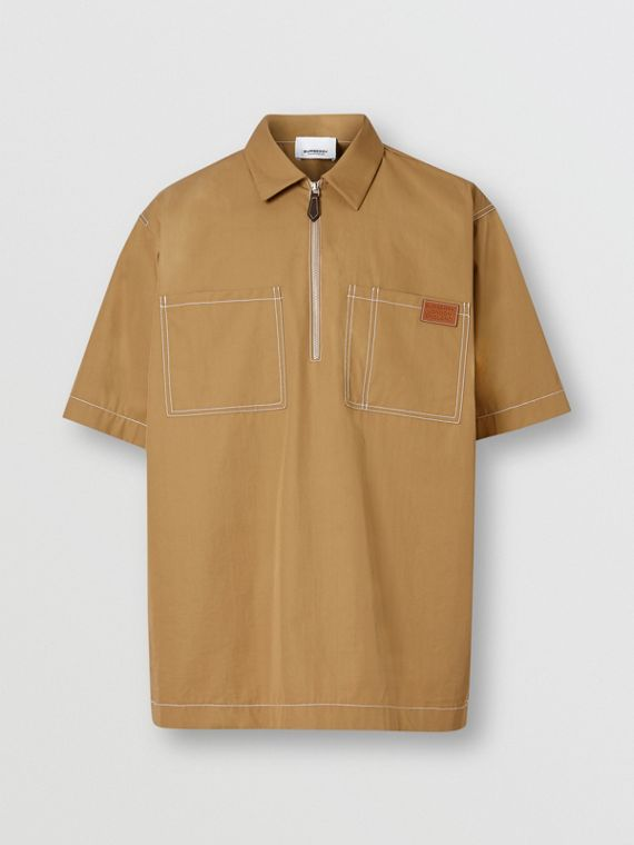 Short-sleeve Military Cotton Shirt in Dark Honey