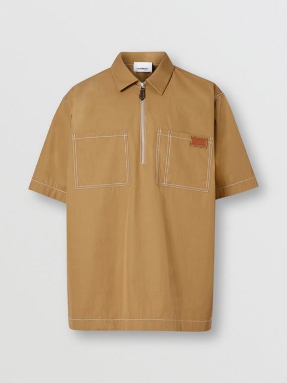 Chemise à manches courtes de style militaire en coton (Miel Sombre)