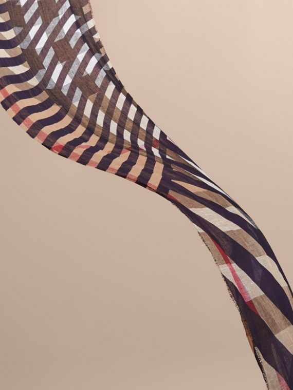 Lightweight Stripe Print Check Linen Scarf in Navy/camel - Men | Burberry - cell image 3
