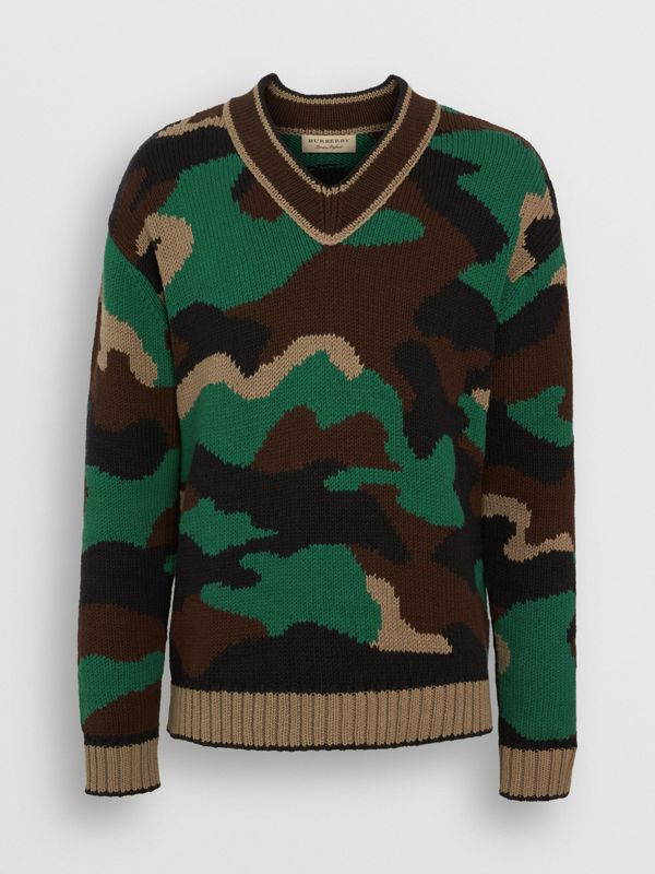 Camouflage Intarsia Cotton Blend Sweater in Forest Green - Men | Burberry - cell image 3