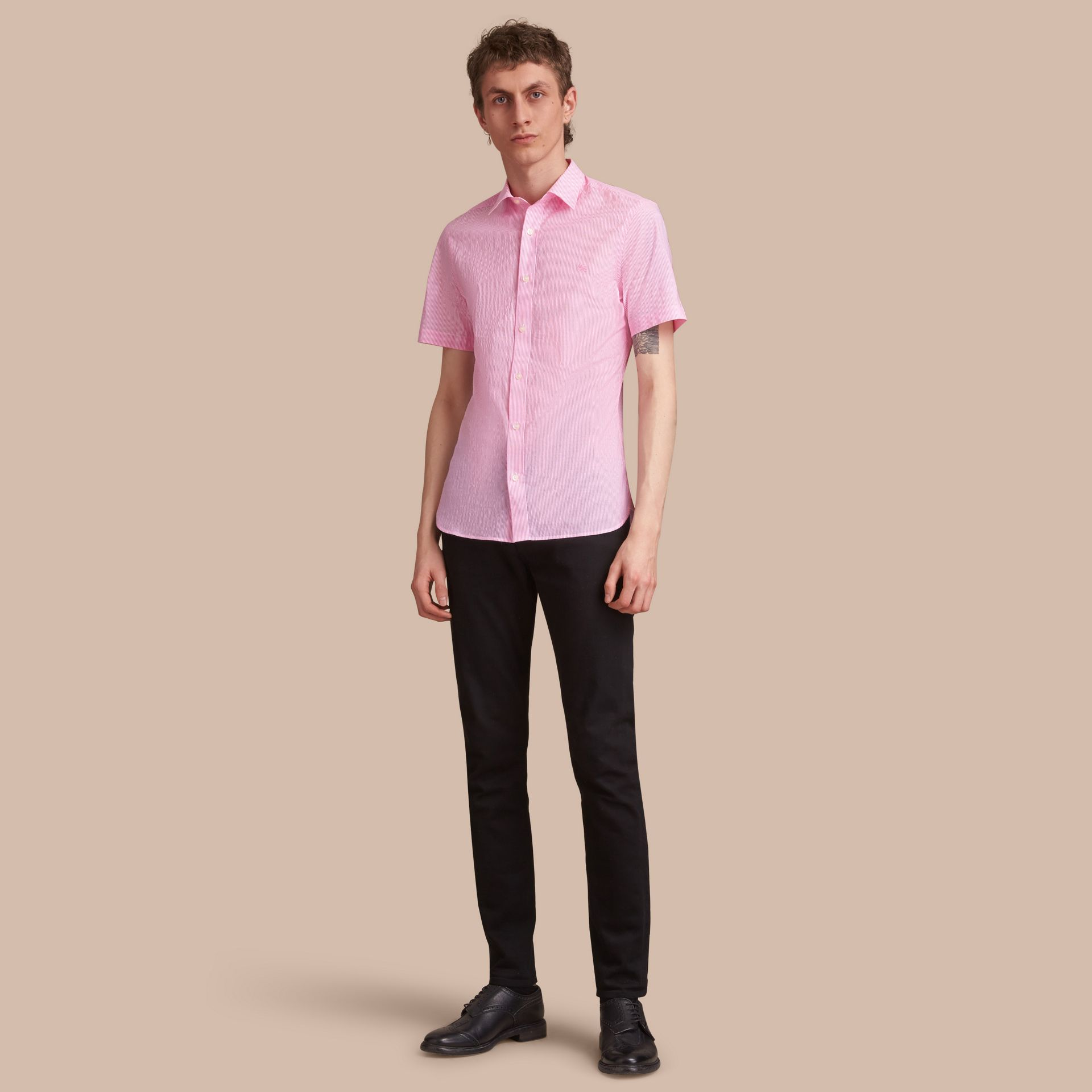 Short-sleeve Striped Cotton Seersucker Shirt in Pale Pink - Men | Burberry - gallery image 1