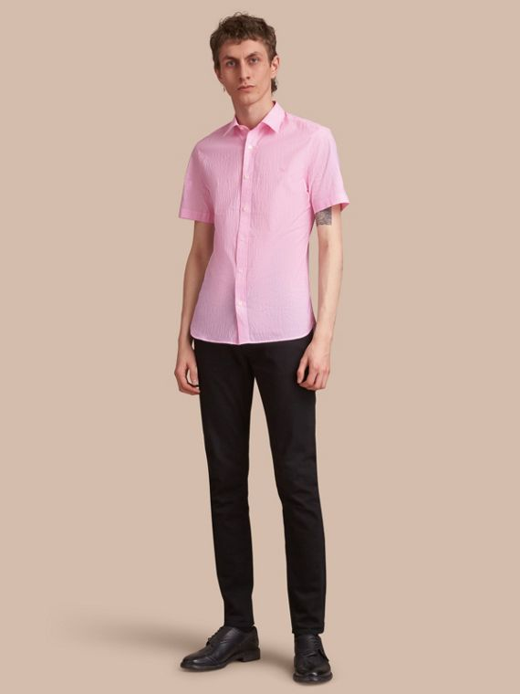 Short-sleeve Striped Cotton Seersucker Shirt Pale Pink