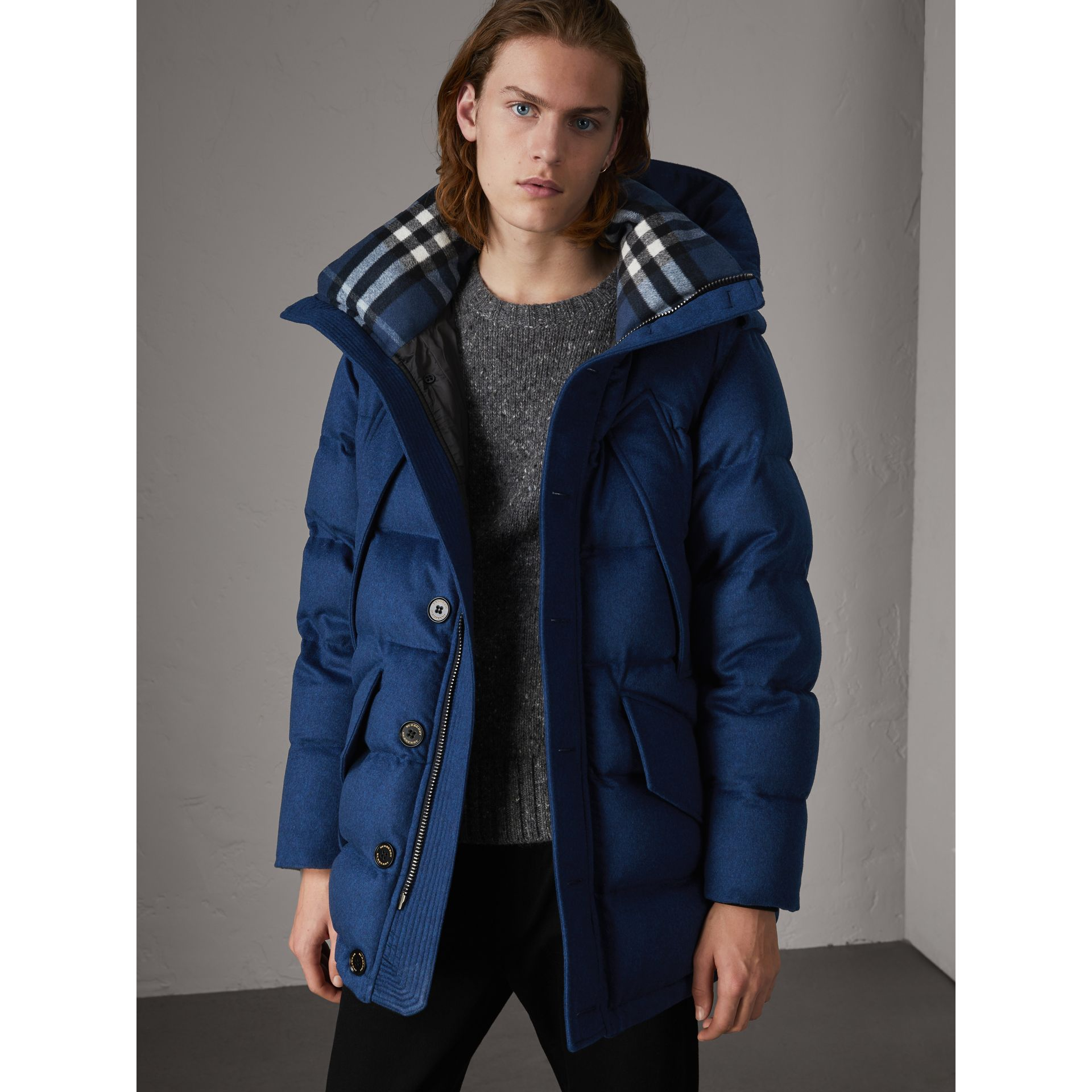 Down-filled Cashmere Hooded Parka in Teal Blue Melange - Men | Burberry United Kingdom - gallery image 0