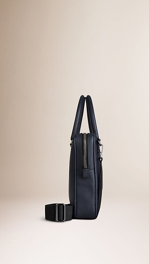 Navy London Leather Crossbody Briefcase Navy - Image 4