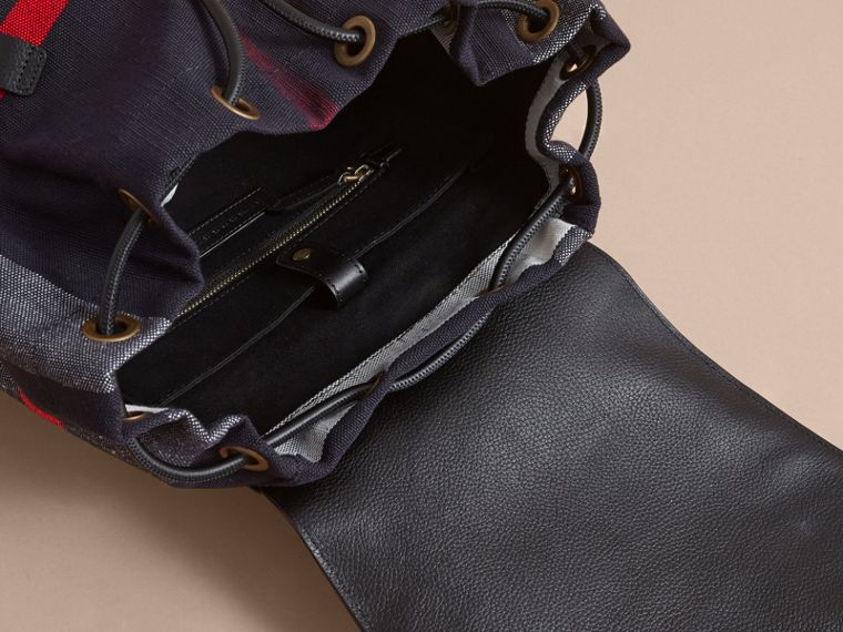 The Large Rucksack in Canvas Check and Leather in Black - Men | Burberry - cell image 4