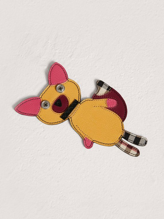 Fox Appliqué Leather and Haymarket Check Bookmark in Black
