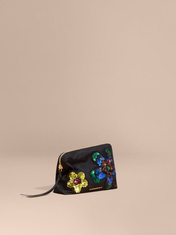 Large Zip-top Floral Embellished Pouch