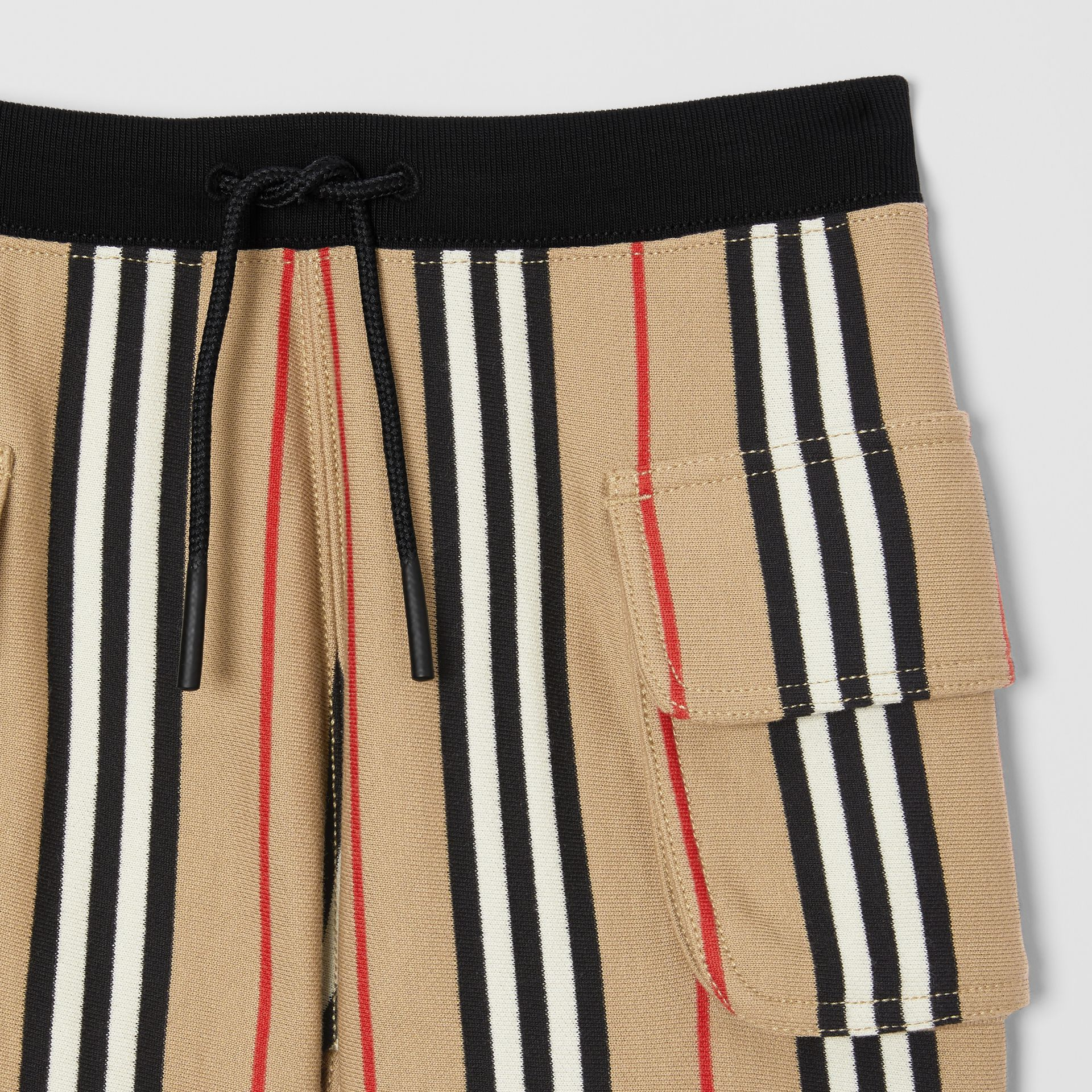 Icon Stripe Cotton Drawcord Shorts in Archive Beige | Burberry - gallery image 5