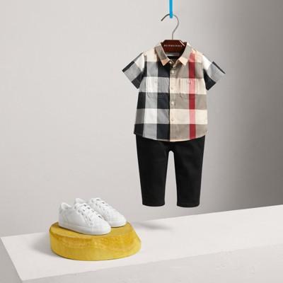 Burberry - Chemise en coton à manches courtes avec motif check - 3