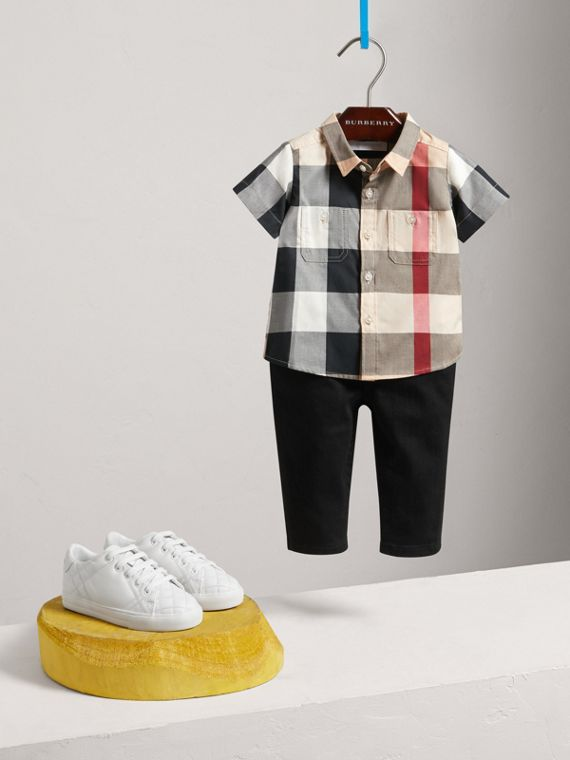 Short-sleeve Check Cotton Shirt in New Classic - Children | Burberry United Kingdom - cell image 2