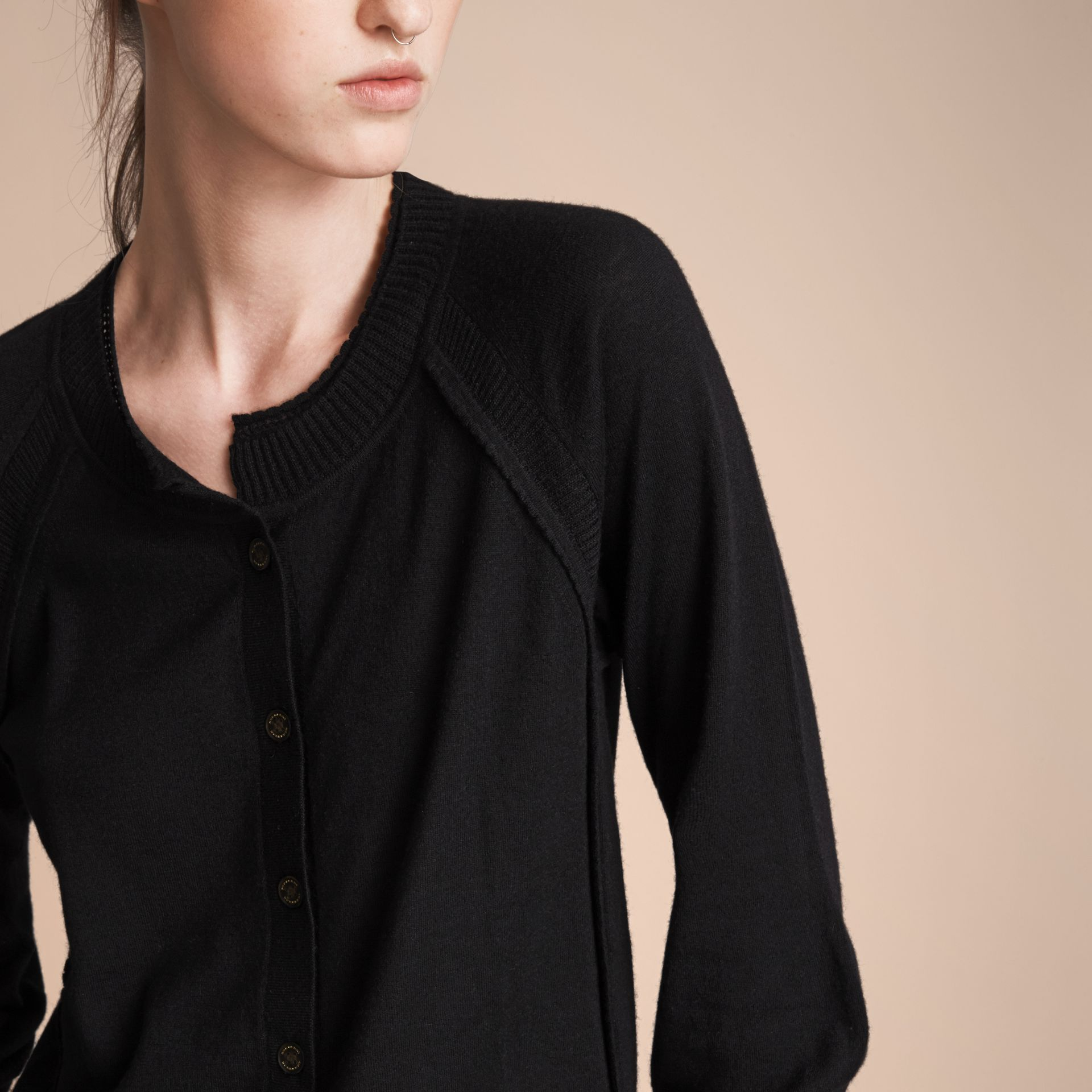 Open-knit Detail Cashmere Cardigan in Black - Women | Burberry - gallery image 5