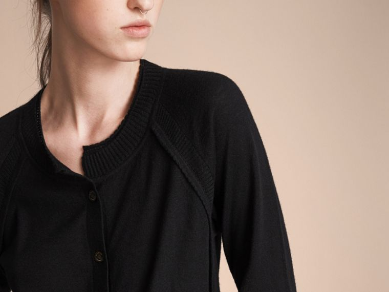 Open-knit Detail Cashmere Cardigan in Black - Women | Burberry - cell image 4