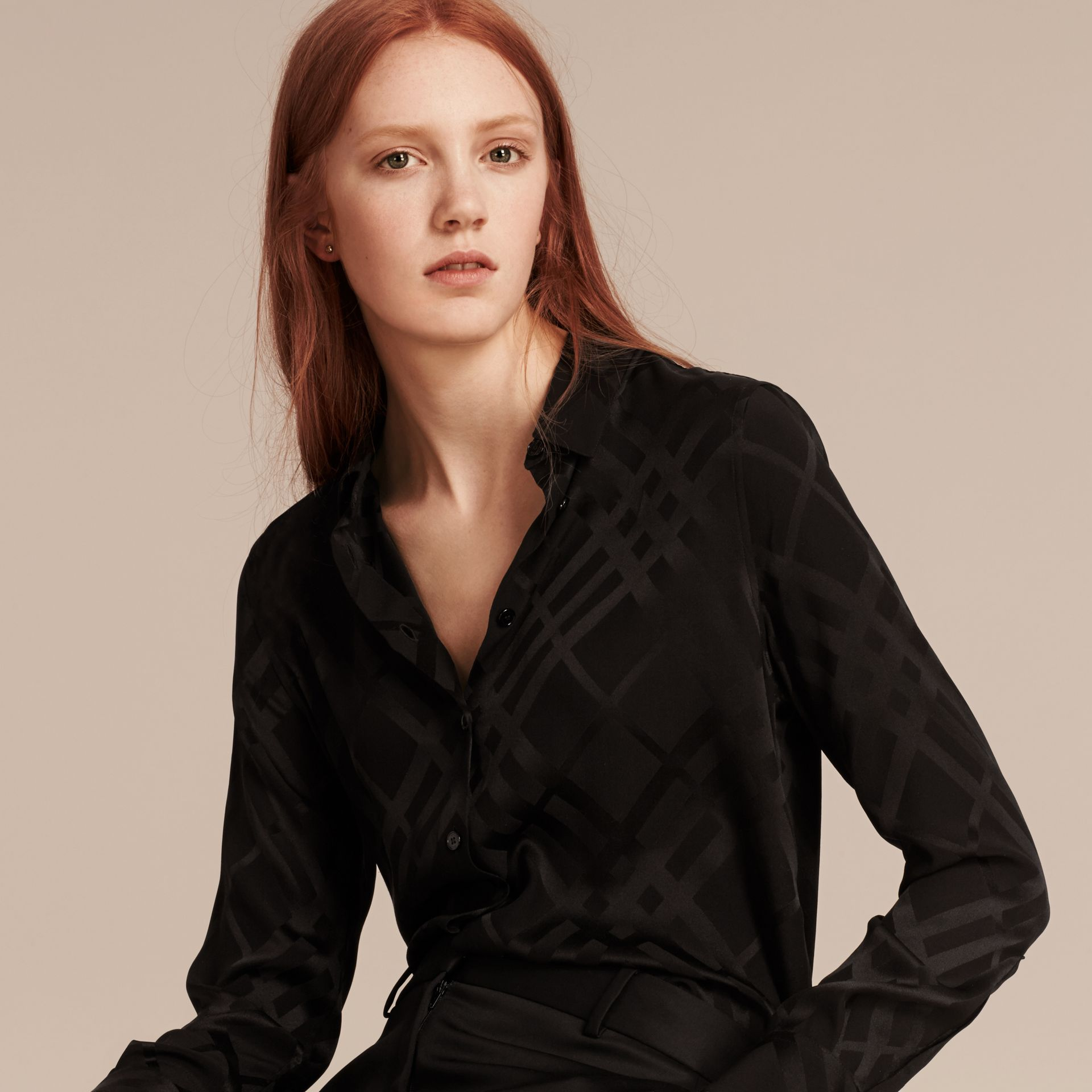 Tonal Check Silk Shirt Black - gallery image 5