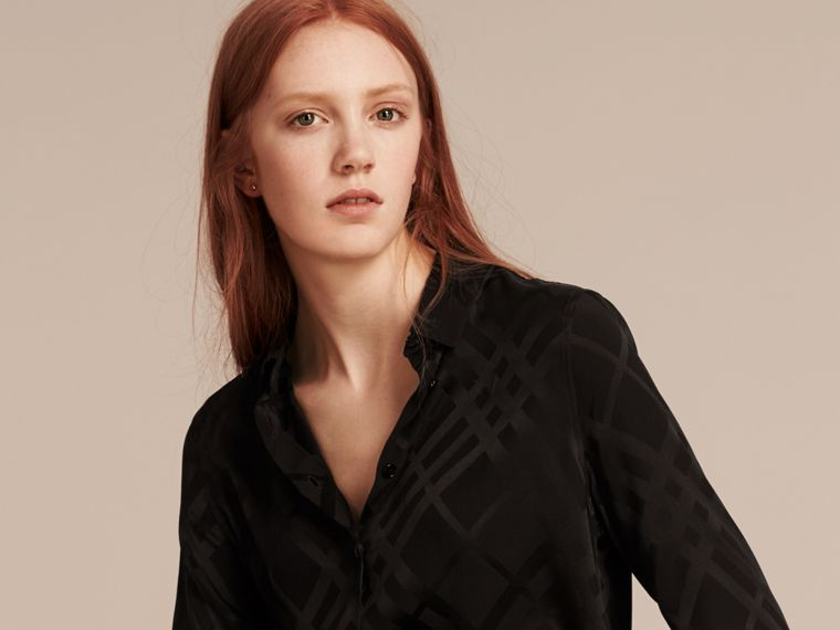 Tonal Check Silk Shirt Black - cell image 4