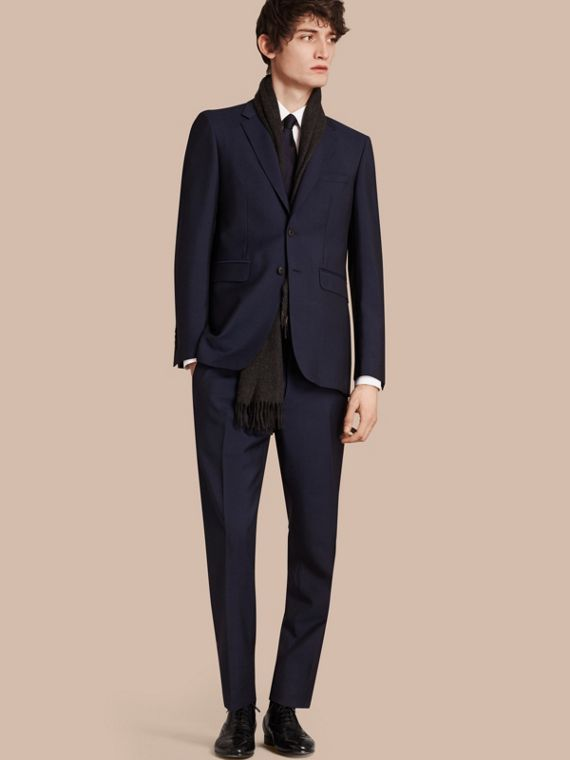 Modern Fit Wool Mohair Part-canvas Suit Royal Navy