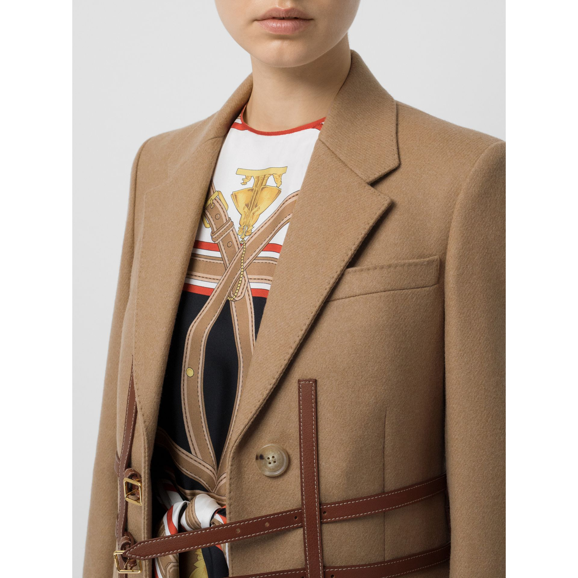 Leather Harness Detail Wool Tailored Coat in Camel - Women | Burberry - gallery image 5