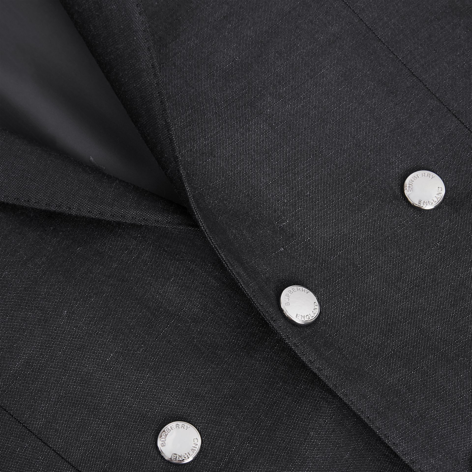 English Fit Triple Stud Silk Linen Tailored Jacket in Silver Grey | Burberry - gallery image 6
